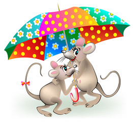 Couple of mice holding umbrella, vector cartoon image.