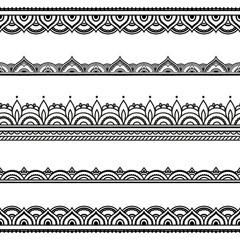 Vector henna seamless borders. Mehndi style.