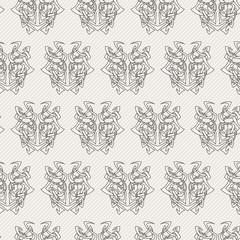 Elegant difficult curled ornamental gothic tattoo seamless pattern. Celtic style. Maori