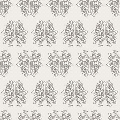 Elegant difficult curled ornamental gothic tattoo seamless pattern. Celtic style. Maori