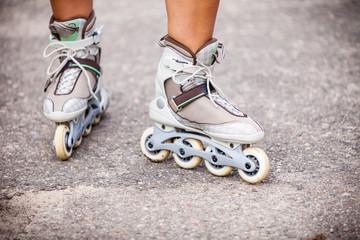 Enjoying roller skating rollerblading on inline skates.