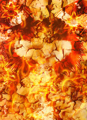 oriental ornamental mandala and color abstract background with fire flame, LAVA structure. Earth Concept.
