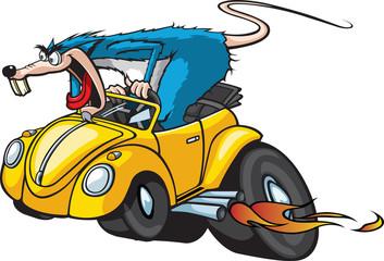 Hot Rod Rat Cartoon Rat in a Hot Rod Car.
