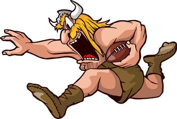 Running Viking Cartoon Viking running with Football.