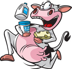 Running Cow Cartoon of a cow running with milk, ice cream and cheese.