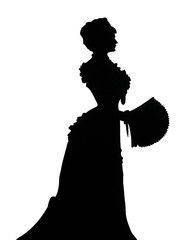 Elisabeth of Bavaria (Sissi). Silhouette. Queen with a fan.