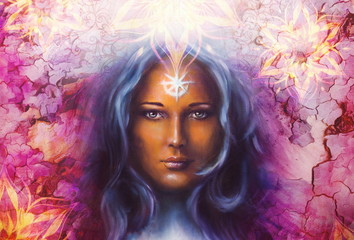 Aluminium Prints Painterly Inspiration Beautiful Painting Goddess Woman with ornamental mandala and color abstract background and desert crackle.