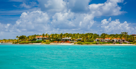 view of the island of Antigua in the Caribbean Sea