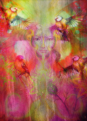 beautiful illustration women and mandala, with birds on multicolor background eye contact.