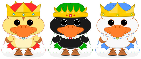 Vector illustration of three wise men dressed cartoon ducklings on a transparent background. All elements are well sorted and grouped in layers