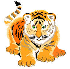 Illustration of little tiger, vector cartoon image.