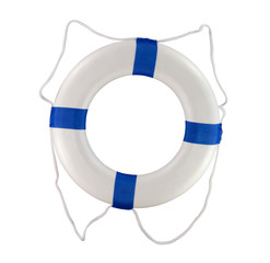 Throwable life saver buoy isolated on a white background for use on a boat or at a pool
