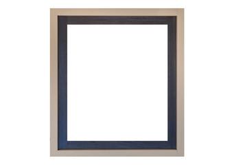 Empty vintage wood photo frame isolated on white background