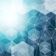 Abstract polygonal space blue hexagonal background with connecting dots and lines. Vector illustration