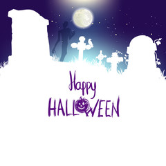 Happy Halloween poster, vector illustration