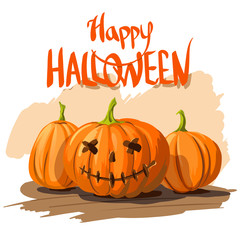 Happy Halloween pumpkins, vector illustration