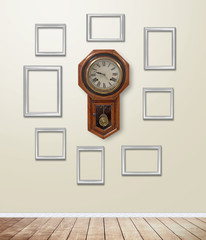 Old clock decor on wallpaper with light flare.