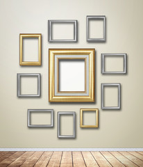 Gold Frame decor on wallpaper with light flare.
