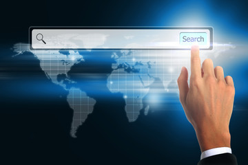 Hand business touching bar search. world wide web