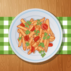 penne rigate pasta with cherry tomatoes and parsley on a wooden table. Top view