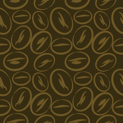 Seamless vector pattern, dark brown background with closeup coffee beans