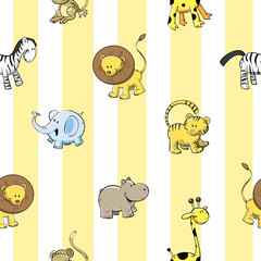 Vector seamless pattern with cute cartoon African animals on  striped background.