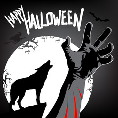 Happy Halloween card with full moon, wolf silhouette and bitten hand in dark forest. Vector illustration.