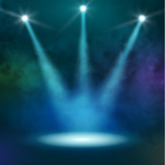 Premiere Blue Show background sparkles. Smoky vector stage shining with rays spotlight