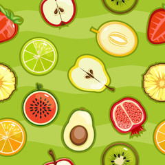 Seamless pattern with colorful fresh fruit and berries in a cut
