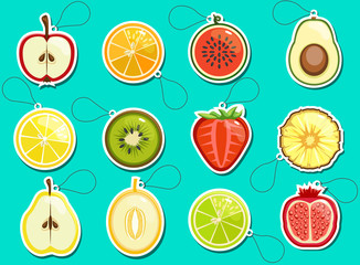 Fruit labels, bright, colorful and delicious