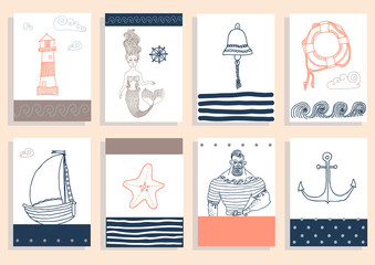 set with sailor, lighthouse, mermaid, ship and other.