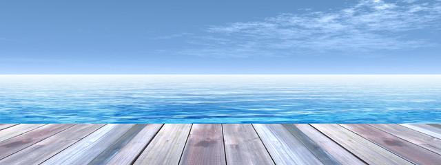 Conceptual wood deck over sea and sky banner