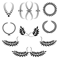 Laurel wreath tattoo set. Black ornaments, nine signs on white background.  Victory, peace, glory symbol. Vector