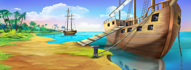 Pirate ship on the shore of the Pirate Island. Panorama view.