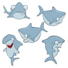 Set of cute sharks for you design. Cartoon