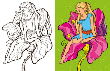 Colouring Book Of Cirl Sit On Flower