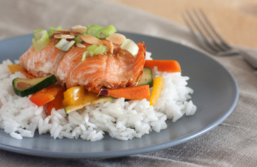 Maple glazed salmon with stir-fry vegetables and rice