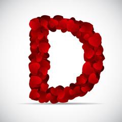 Valentine Day Alphabet of Hearts Vector Illustration