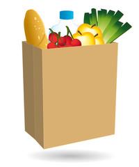 Sac en papier rempli de nourriture. Courses en ligne. Livraison à domicile. Commerce de proximité.