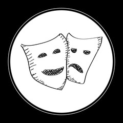 Simple doodle of a happy and sad mask