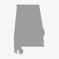 Map the State of Alabama in gray on a white background