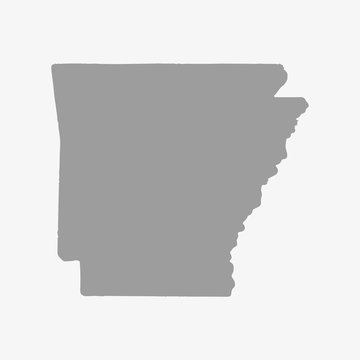 Map of Arkansas in gray on a white background