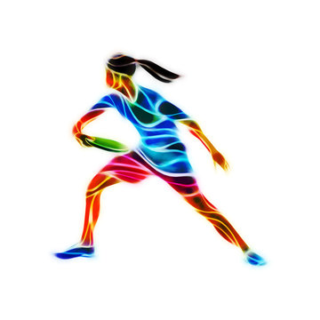 Female player is playing Ultimate Frisbee, color illustration