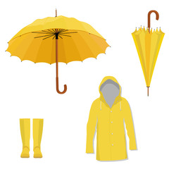 Raincoat, boots, umbrella