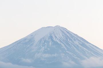 Close up peak of Fuji mountain in winter, Japan