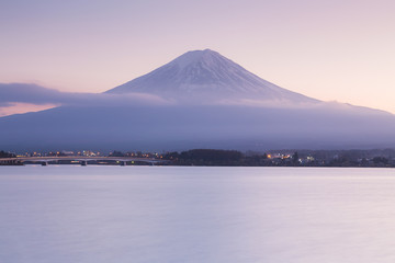 Fuji Mountain during sunset at lake Kawakugigo front view, Japan