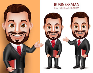 3D Realistic Professional Lawyer Man Student Vector Character Happy Holding Book Isolated in White Background. Set of Vector Illustration