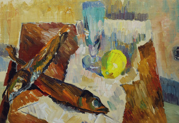 Beautiful Original Oil Painting of Still Life fish glass apple, on paper, on the table On Canvas in the style of impressionism in pastel colors