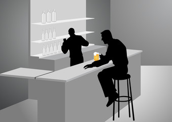 Silhouette Illustration Of A Man At The Bar