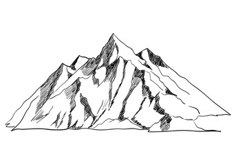 Line art Or Sketch Illustration Of A Mountain